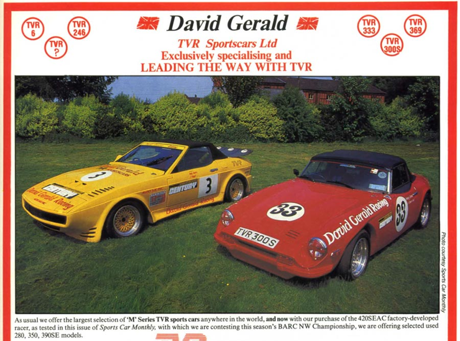 TVR SEAC racer David Gerald 1987 advert
